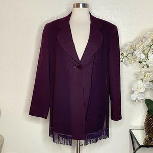 Christian Dior Burgundy 1-Button Coat w. Scarf 10